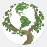 árbol del globo pegatinas redondas