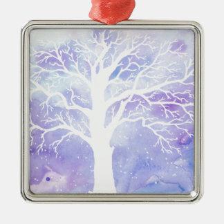 Árbol del invierno de la acuarela en nieve adorno de cerámica