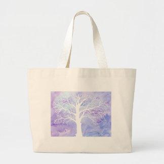 Árbol del invierno de la acuarela en nieve bolso de tela gigante