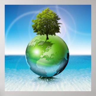 Árbol del mundo - concepto de la ecología póster