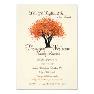 Árbol del otoño de la reunión de familia invitación 12,7 x 17,8 cm
