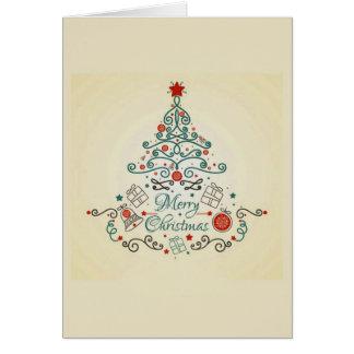 Árbol del país con las decoraciones en tarjeta de
