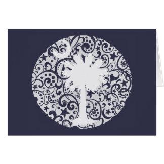 Árbol del Palmetto y tarjeta de Navidad de la luna