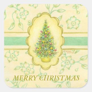 Árbol elegante de los pegatinas del navidad pegatina cuadrada