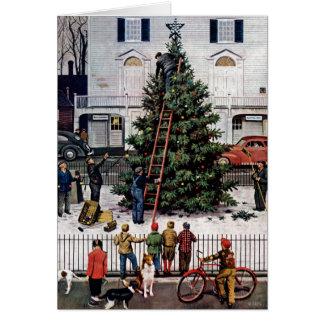 Árbol en plaza tarjeta de felicitación