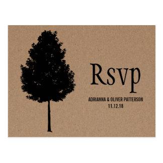 Árbol forestal rústico del papel de Kraft que casa Postal