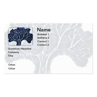 Árbol grabado en relieve del metal - azul tarjetas de visita