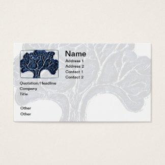 Árbol grabado en relieve del metal - azul tarjeta de visita