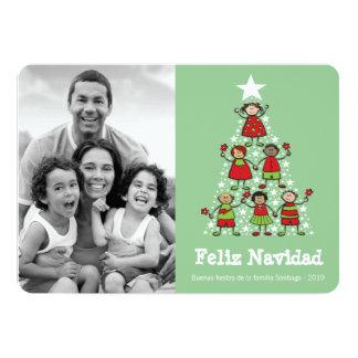 Árbol niños tarjeta de la foto de Navidad linda Invitación 12,7 X 17,8 Cm