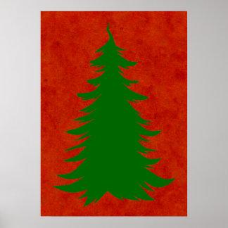 Árbol para el navidad en lavado rojo de la póster
