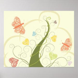 árbol precioso de la mariposa posters
