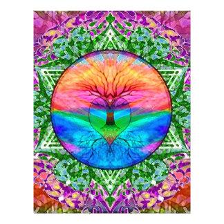 Árbol que calma de la vida en colores del arco iri folleto 21,6 x 28 cm