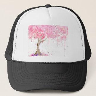 Árbol rosado abstracto de la acuarela, cerezo gorra de camionero
