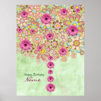 Árbol rosado de las flores del flor - cumpleaños póster
