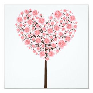 Árbol rosado del corazón de Sakura (flor de Invitación 13,3 Cm X 13,3cm