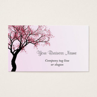 Árbol rosado del flor de la flor tarjeta de visita