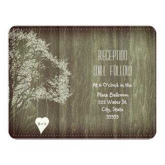Árbol rústico con la tarjeta de la recepción invitación 10,8 x 13,9 cm