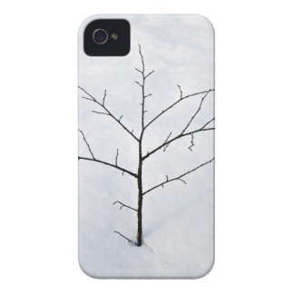 Árbol solo secado de la rama en un paisaje nevoso Case-Mate iPhone 4 fundas