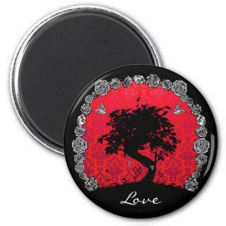 Árbol subió tatuaje de los bonsais del trago del a imán redondo 5 cm