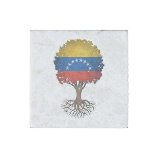 Árbol venezolano de la bandera del personalizable imán de piedra