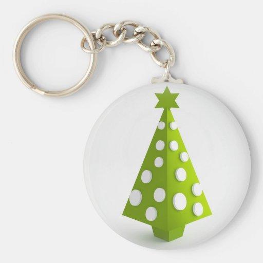 Árbol verde del navidad llavero redondo tipo chapa