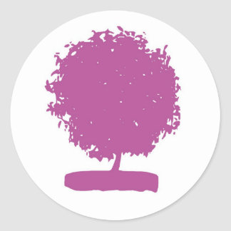 Árbol violeta extraño pegatina redonda