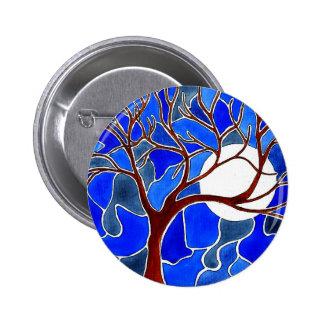Árbol y luna en la lona - azul pin