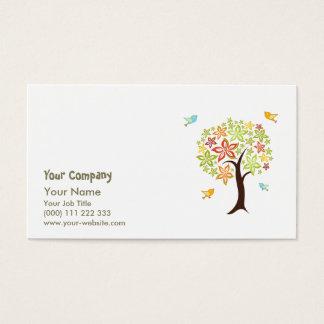 Árbol y pájaros tarjeta de negocios