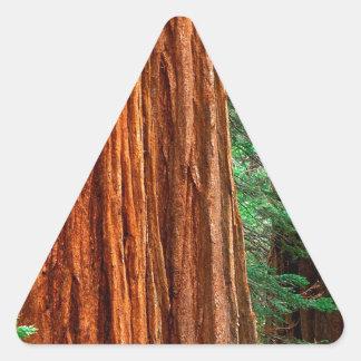 Arboleda Yosemite de Mariposa de la secoya gigante Calcomanías De Triangulos Personalizadas