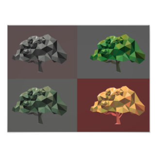 Árboles abstractos polivinílicos bajos con impresiones fotográficas