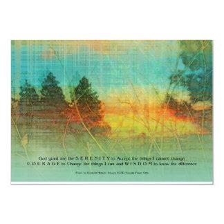 Árboles coloridos del rezo de la serenidad invitación 12,7 x 17,8 cm