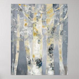 Árboles de abedul en fondo gris póster