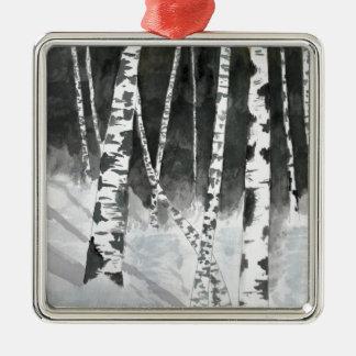 Árboles de abedul que pintan los regalos ornatos