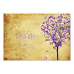 Árboles de arce violetas retros del rsvp de invitación 8,9 x 12,7 cm