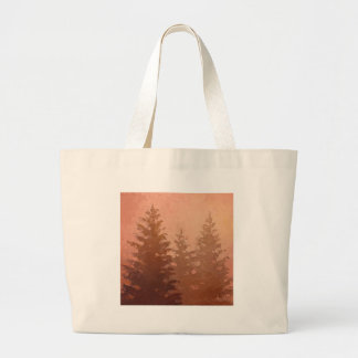 Árboles de cedro de niebla en colores calientes bolsa tela grande