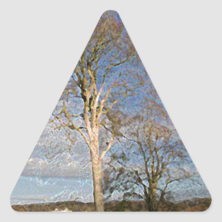 Árboles de haya irlandeses pegatina triangular