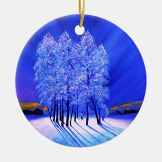 Árboles de la nieve del navidad de la aurora adorno navideño redondo de cerámica