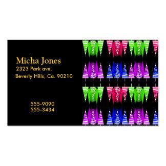 Árboles de navidad abstractos rayados coloridos tarjetas de visita