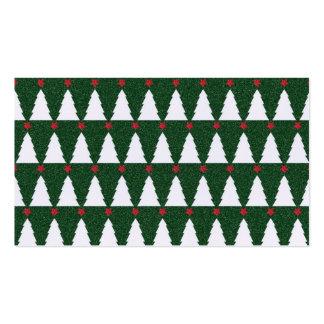 Árboles de navidad blancos en verde chispeante tarjetas de visita