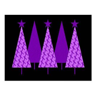 Árboles de navidad - cinta violeta postal