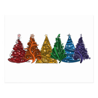 Árboles de navidad del arco iris postal