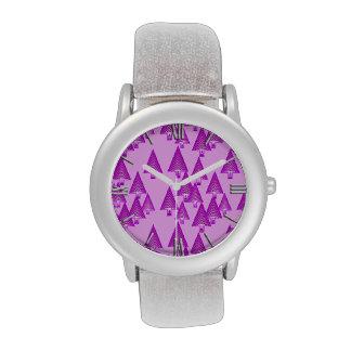 Árboles de navidad metálicos modernos - púrpura relojes de mano