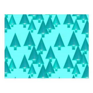 Árboles de navidad metálicos modernos - turquesa tarjeta postal