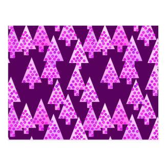 Árboles de navidad modernos de la flor - púrpura postal