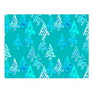 Árboles de navidad modernos de la flor - turquesa postales