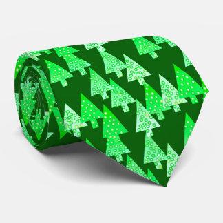 Árboles de navidad modernos de la flor - verde del corbata personalizada