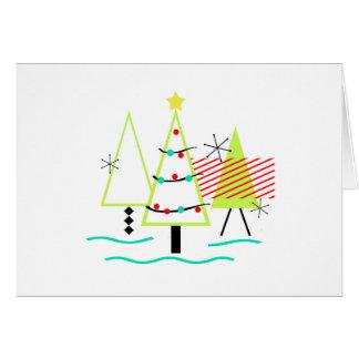 árboles de navidad modernos de los mediados de tarjeta de felicitación