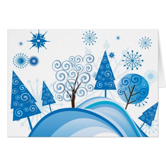 Árboles de navidad y copos de nieve azules tarjeta de felicitación