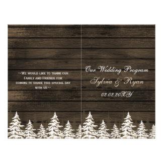 Árboles de pino de Barnwood, programa del boda del Folleto 21,6 X 28 Cm