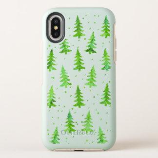 Árboles de pino de la acuarela